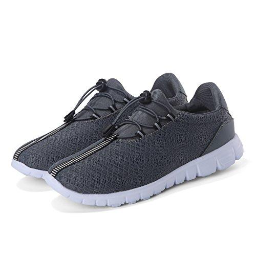 Footmat Chaussures De Course Pour Hommes Léger Mesh Respirant Sportif Baskets De Sport Gris Foncé
