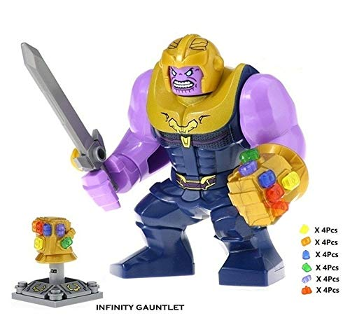 (Thanos with Infinity Gauntlet 24 PCS Power Stones Big Size Bricks Building Blocks Kids Figure Toy)