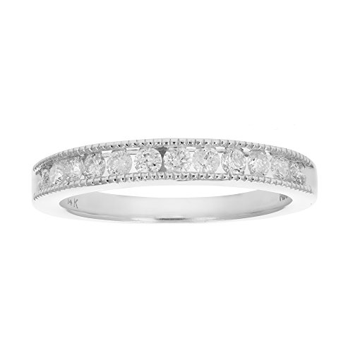 Milgrain Diamond Wedding Ring - 9