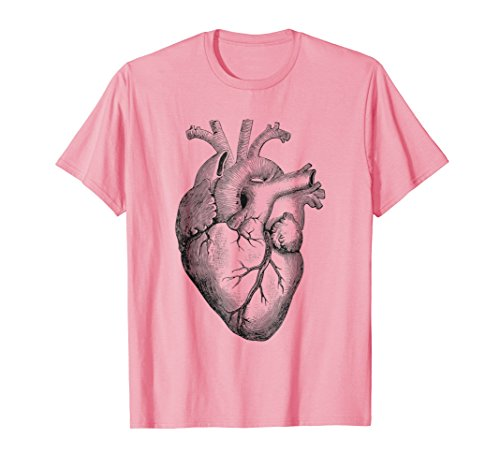 Mens Real Anatomical Human Heart Drawing TShirt Large Pink