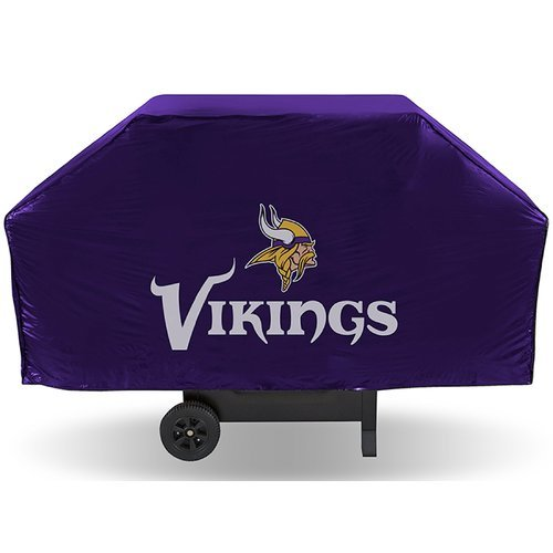 (JA 21 X 35 X 68 Inches NFL Vikings Grill Cover, Football Themed Weather Resistant Vinyl Gas Barbeque Smoker Protector, Team Logo Fan Merchandise Athletic Team Spirit Fan, Purple Gold)