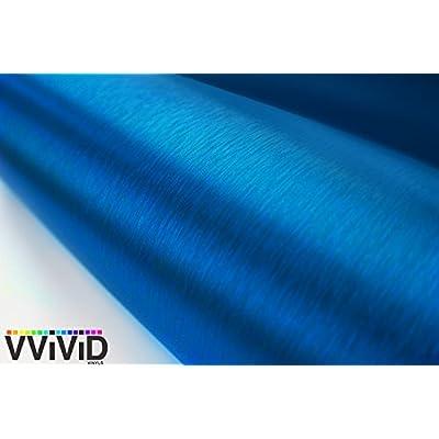 VViViD Metallic Blue Brushed Metal Vinyl Wrap Roll XPO Air Release Technology (1ft x 5ft): Automotive