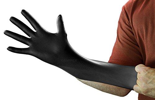 AMMEX - GWBN48100-BX - Nitrile Gloves - Gloveworks - HD, Disposable, Powder Free, Latex Rubber Free, 6 mil, XLarge, Black (Box of 100) by Ammex (Image #2)