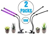 BestCircle LED Plant Grow Light for Rapid Plant Growth Twin Value Packs 18W x 2 Dual Head with Timer, Premium, Adjustable. UV Indoor Plants Hydroponic, Greenhouse, Gardening, Germination