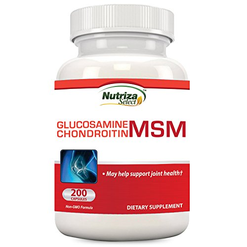 Nutriza Glucosamine Chondroitin MSM Supplement, 200 Capsules, Made in USA, GMP Compliant Facility, May Support Joint Health