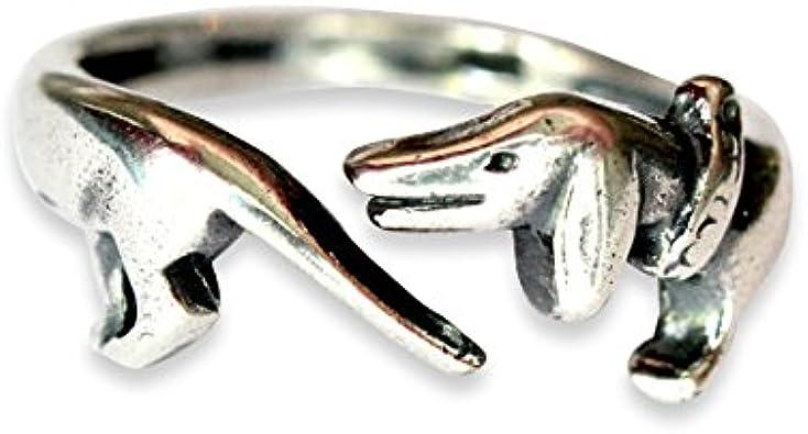 Blue Enamel Dog With A Bone Rings 925 Silver Animal Finger Rings For Women Girls