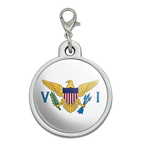 (GRAPHICS & MORE Virgin Islands US Territory Flag Chrome Plated Metal Pet Dog Cat ID Tag - Large )