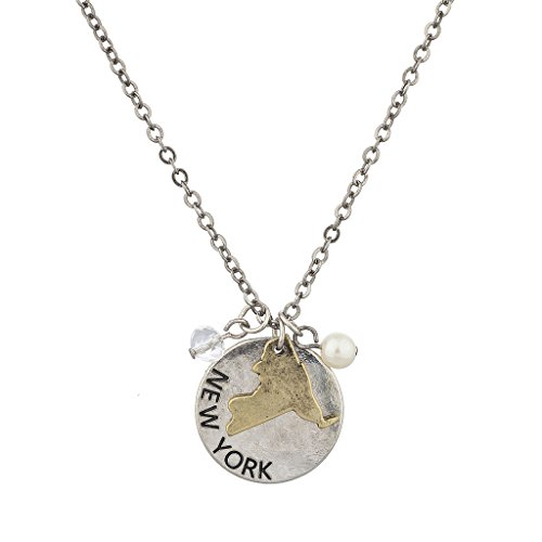 Lux Accessories Burnish Silver New York State NY Shape Charm Necklace (New York State Necklace compare prices)