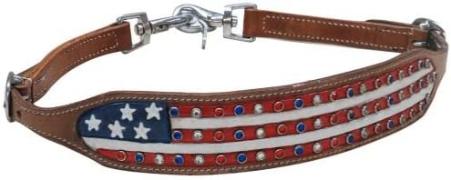 Showman Hand Painted American Flag Leather Wither Strap w//Crystal Rhinestone Studs NEW for the FORTH OF JULY!