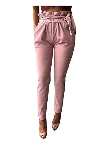 Jogging Pantaloni Donna Primaverile Autunno Pants Eleganti Moda Chino Pantaloni Casual Monocromo Grazioso High Waist Cintura Inclusa Tasche Laterali Tempo Libero Pantaloni Rosa