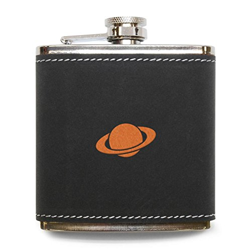 MODERN GOODS SHOP Saturn Flask - Stainless Steel Body With Grey Leather Cover - 6 Oz Leather Hip Flask - Made In USA