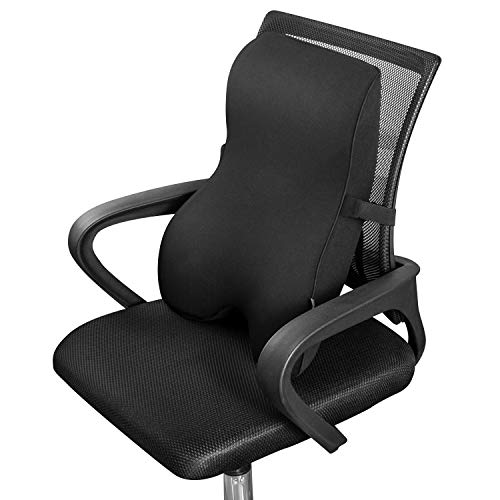 Dreamer Car Comfortable Memory Foam Full Back Cushion Car Back Support for Office Chair, Chair Cushion with Ventilated Cover Balanced Softness Designed to Relieve Sciatica Pain,Black