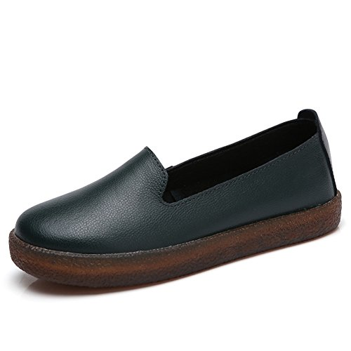68f22037548 HKR Women Leather Slip On Fashion Sneakers Flat Work Shoes Comfort Driving  Loafers on sale