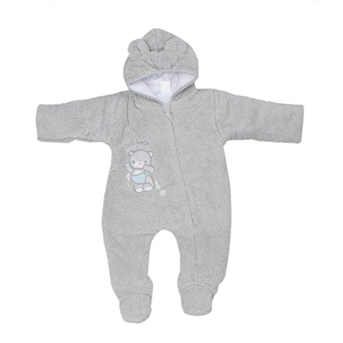 Baby Schneeanzug mit Kapuze Jungen Fleece-Overall Mädchen Teddyoverall Warm Wattiert Winter, Farbe: Grau, Größe: 74
