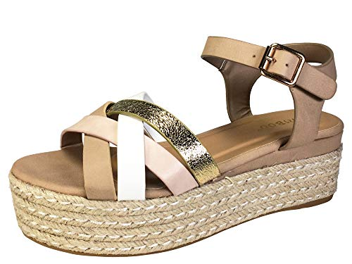 BAMBOO Women's Multi Cross Band Espadrilles Platform Sandal with Quarter Strap, Blush, 8.0 B (M) ()