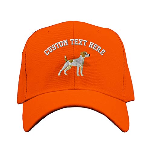 Custom Baseball Cap Jack Russell Terrier Dog A Embroidery Design Acrylic Hard Hat Hook & Loop Orange Personalized Text Here ()