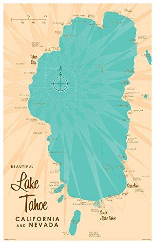 Lake Tahoe CA Nevada Map Vintage-Style Art Print by Lakebound (12