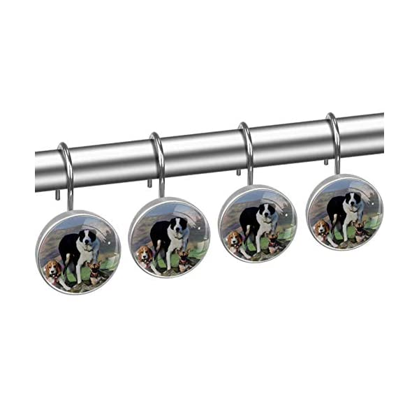 imobaby 12 Pcs Beagle Border Collie Shower Curtain Hooks,Round Crystal Glass Shower Curtain Hooks for Bathroom and Living Room Decorative 4