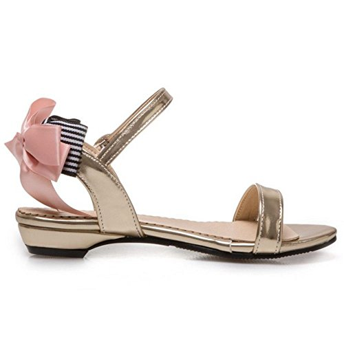 Ankle Slingback Flat Sandals Summer with TAOFFEN Bowtie Casual Gold Buckle Women Strap q0Un70Ia6w