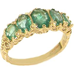 14k Yellow Gold Natural Emerald Womens Band Ring - Sizes 4 to 12 Available