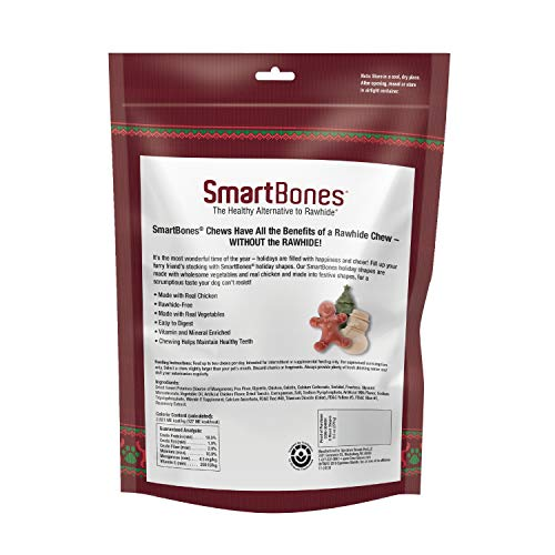 SmartBones Holiday Chews Treat Your Dog to Fun Shaped Rawhide Free Chews Made with Real Chicken