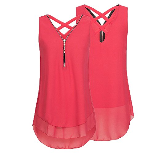 Tank Sommer Shirt Oberteile Reißverschluss Damen T DOLDOA Frauen Rot Tops qE4UwBxT