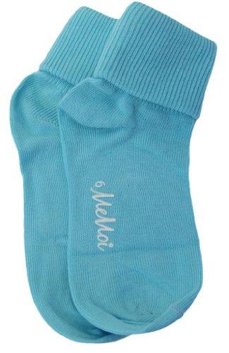 Memoi Unisex-Child Basic Triple Roll Anklet Socks sea blue 8 ()