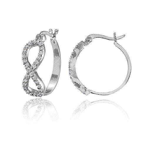 Sterling Silver Cubic Zirconia Infinity Figure 8 Hoop Earrings