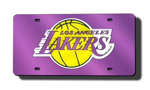 Los Angeles Lakers Metal - Rico Industries NBA Los Angeles Lakers Laser Inlaid Metal License Plate Tag, Purple