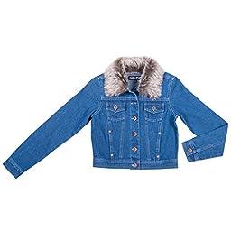 [39878-Denim-14/16] Girl\'s Jean Jacket: Denim, Faux Fur Collar Little & Big Kids