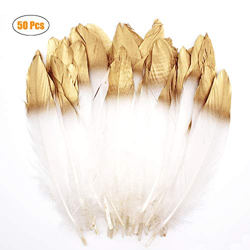 WELLGO 50 Pcs Gold Dipped White Glitter Feather Goose Real Feather Christmas Decoration Natural Craft Art Soft Native Feather Accessories for Christmas, DIY, Party, Wedding, Dream Catcher (50pcs).]()