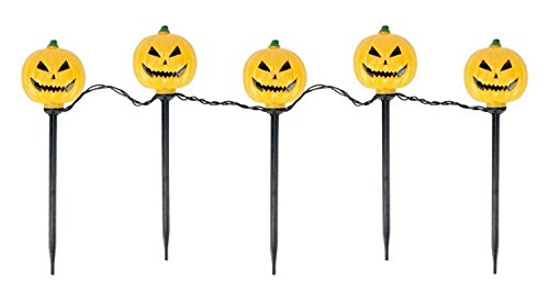 Northlight Set of 5 Lighted Scary Jack-o-Lantern Halloween Pathway Markers - Clear Lights -