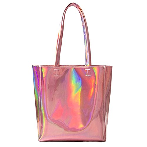 Mily Hologram Tote Bag Laser PU Shoulder Bag for Women-Lightweight,Laser PU Leather Handbag (Pink)