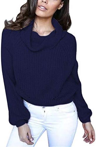 Avsvcb Suéter de Cuello Alto Recortado Mujer suéter de Mujer de Club Nocturno de Moda Casual Europeo y Americano más Vendido