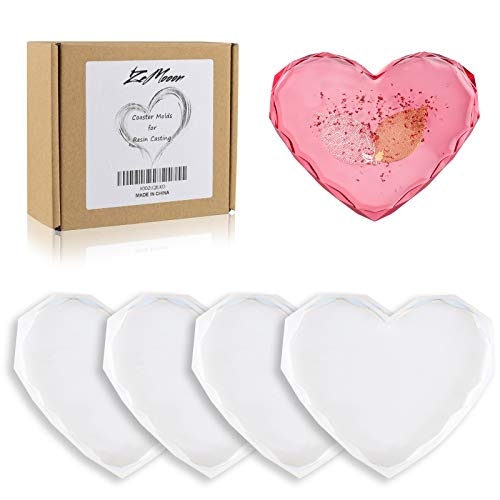 Coaster Molds for Resin Casting, 4 Pack ZeMooon Epoxy Resin Molds, DIY Diamond Edge Heart Silicone Mold for Casting Resin