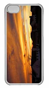 LJF phone case Customized iphone 5C PC Transparent Case - Visconsin Sunset Personalized Cover