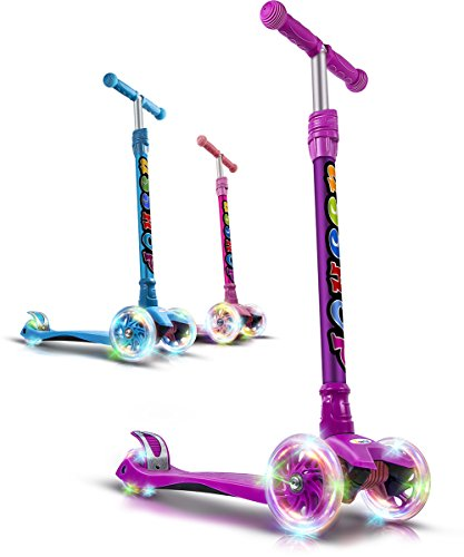 XLSPORT Kick Scooter For Kids 3 Wheel Lean To Turn 4 Adjustable Height PU Wheels For 3-10 Year Old - Manual Service Olds