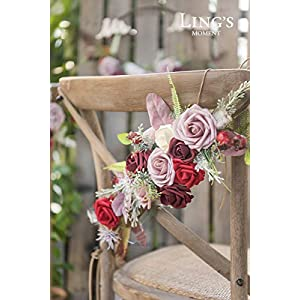 Ling's moment Chic Bohemian Artificial Flowers Chair Garland,Set of 2- Handmade Romantic Chair Back Flower with Burgundy Dusty Red Fake Roses for Christmas Day Wedding Aisle Chair Decor 2