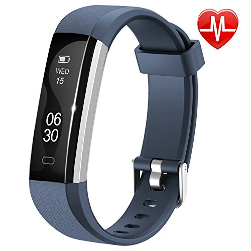 Heart Rate Counter - Lintelek Fitness Tracker, Slim Activity Tracker with Heart Rate Monitor, IP67 Waterproof Wristband with Step Counter, Calorie Counter, Bluetooth Pedometer for Android & iOS Smartphone for Kids Women
