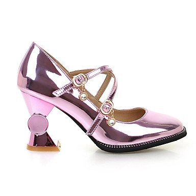 Talones de las mujeres Primavera Verano Otoño Fiesta y Noche de vestir Zapatos de Patentes Invierno Club de cuero de la boda tacón grueso de la hebilla de plata púrpura de oro Gold