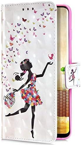Uposao Kompatibel mit Samsung Galaxy J6 Plus 2018 Handyhülle Glitzer Bling 3D Bunt Muster Leder Hülle Flip Schutzhülle Brieftasche Wallet Bookstyle Tasche Case Magnet Kartenfach,Fee Schmetterling