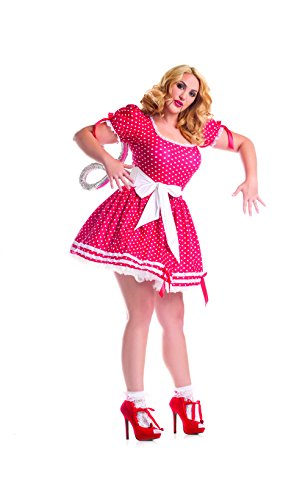 Party King Women's Plus Size Wind Up Doll Costume Set, Red, 2X