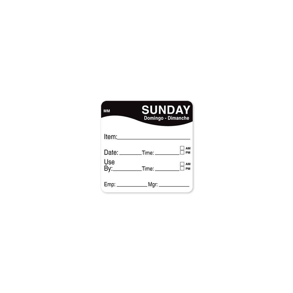 DayMark 1100357 MoveMark 2'' Sunday Use By Day Square - 500 / RL