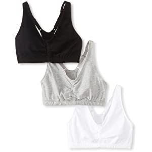 Fruit of the Loom Women's Adjustable Shirred Front Racerback Bra (Pack of 3), Heather Grey/White/Black Hue, Size 34