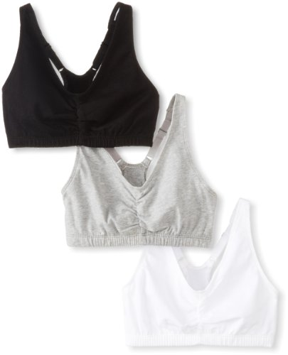 Fruit of the Loom Women's 3 PR Shirred Front Sportsbra, Heather Grey/White/Black Hue, Size ()