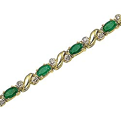 14K Yellow/White Gold 1/6 ct. Diamond and 4 ct. Emerald Bracelet