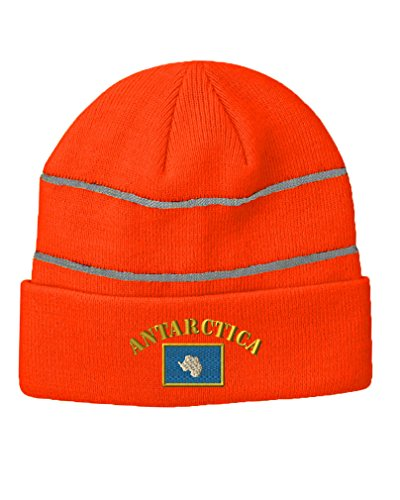 Antarctica Flag Embroidery Design Acrylic Beanie Reflective Stripes Neon Orange Double Stripe Beanie