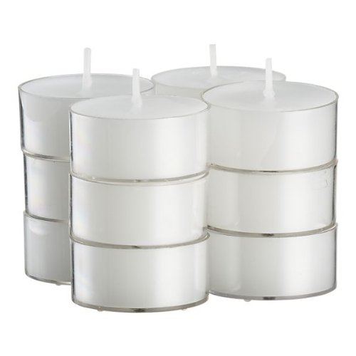 White Tea Light Unscented Candles Burn 4.5 Hour Set of 50 in Clear Cups