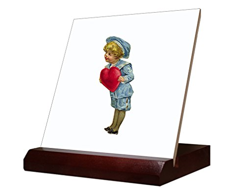 Ceramic Tile Hearth (Boy Holding Hearth Valentees Day Ceramic Tile with Wood Stand 6 inch tile)