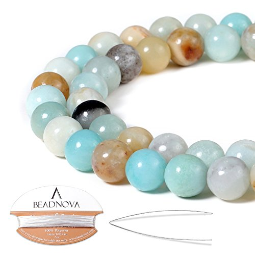 BEADNOVA Natural Amazonite Beads Natural Crystal Beads Stone Gemstone Round Loose Energy Healing Beads with Free Crystal Stretch Cord for Jewelry Making (8mm, 45-48pcs)